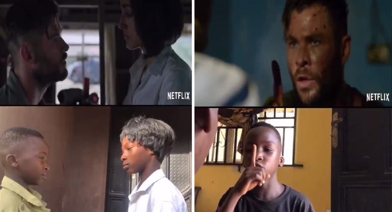 Niños recrean películas de Netflix y se vuelven virales. Foto: Twitter @IkoroduB