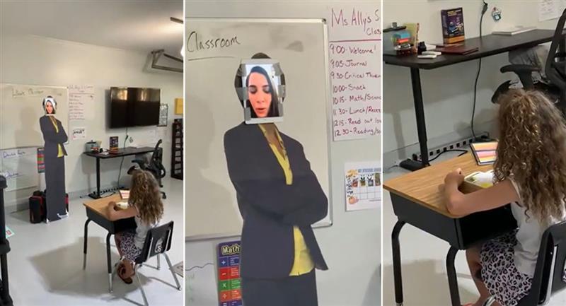 Padre crea un salón de clases en su cochera, con todo y maestra. Foto: Youtube