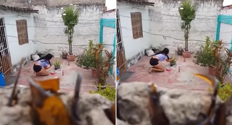 """Vecino capta a mujer haciendo un """"amarre"""" amoroso. Foto: Youtube"""