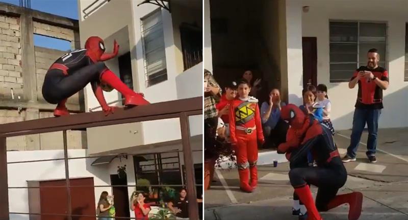 Imitador de Spiderman se vuelve viral por baila en fiesta infantil. Foto: Twitter @fer_medinac