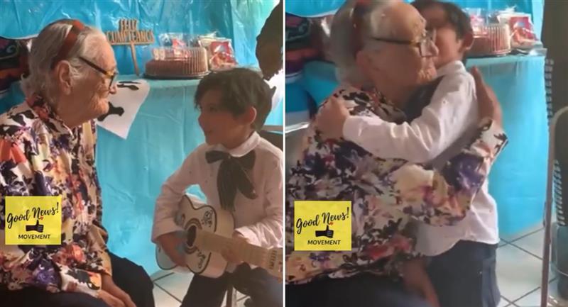 """Niño le canta """"Recuérdame"""" a su bisabuelita y enternece internet. Foto: Instagram"""