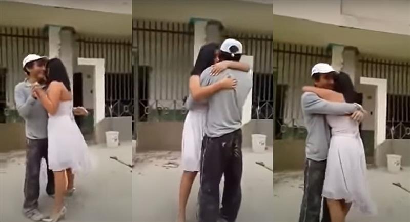 Quinceañera sorprende a su papá albañil para bailar un vals. Foto: Youtube