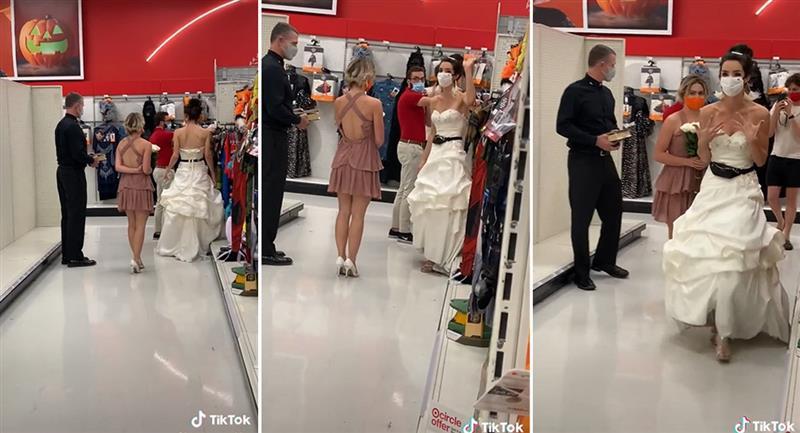 Mujer vestida de novia le exige matrimonio a su novio. Foto: TikTok