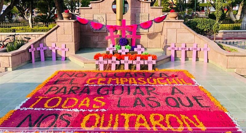 Perritos destruyen ofrenda feminista en Zumpango. Foto: Facebook Colectiva Feminista Zumpango