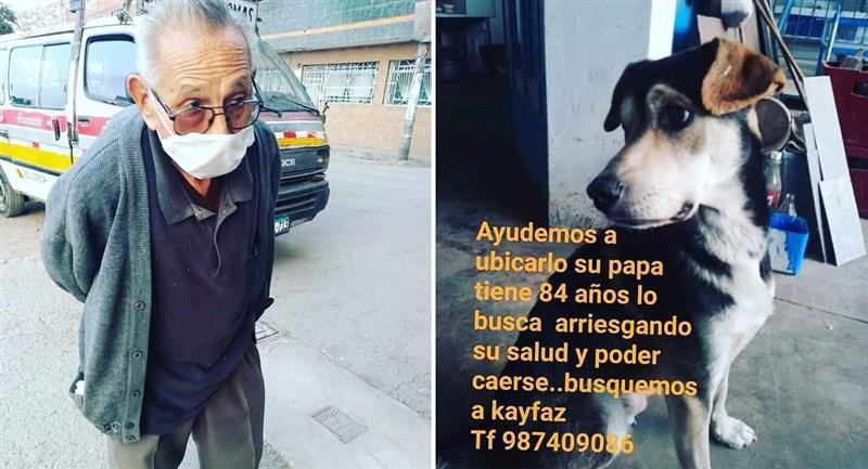 Abuelito de 84 años camina por Lima para encontrar a su perro. Foto: Twitter