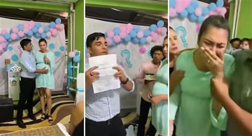 Hombre revela que es estéril y expone a su novia infiel en baby shower de 'su hijo'