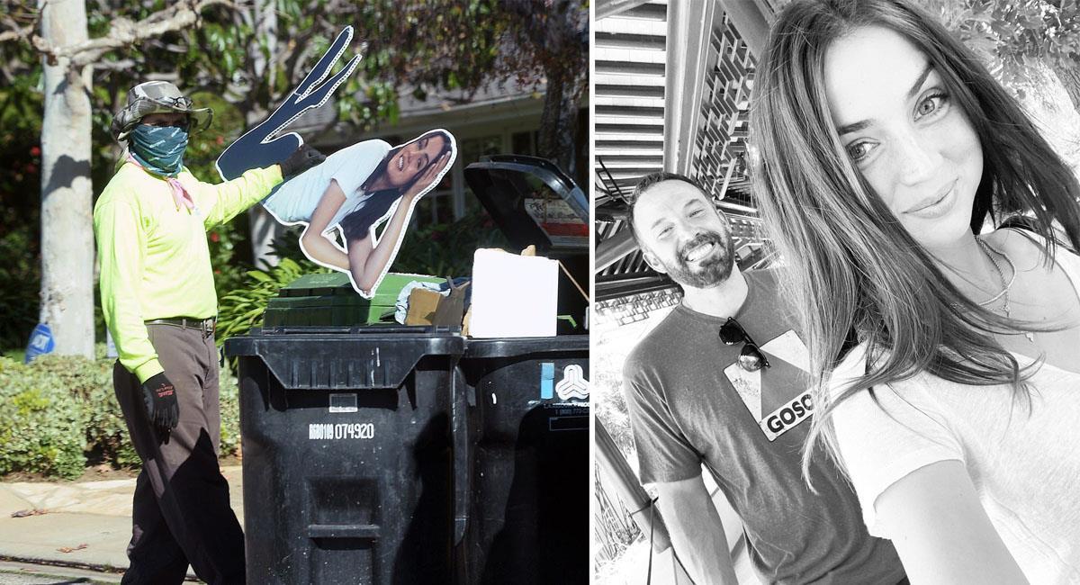 Ben Affleck tira a la basura su poster de tamaño real de Ana de Armas. Foto: Twitter / Instagram