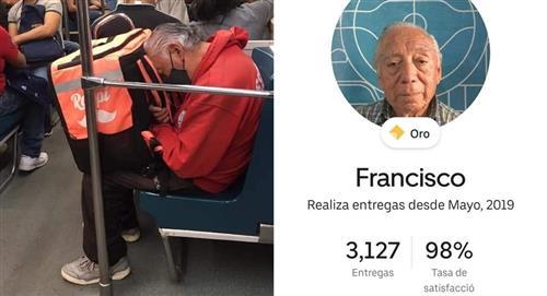 Abuelito repartidor de comida se vuelve viral; se traslada en transporte público