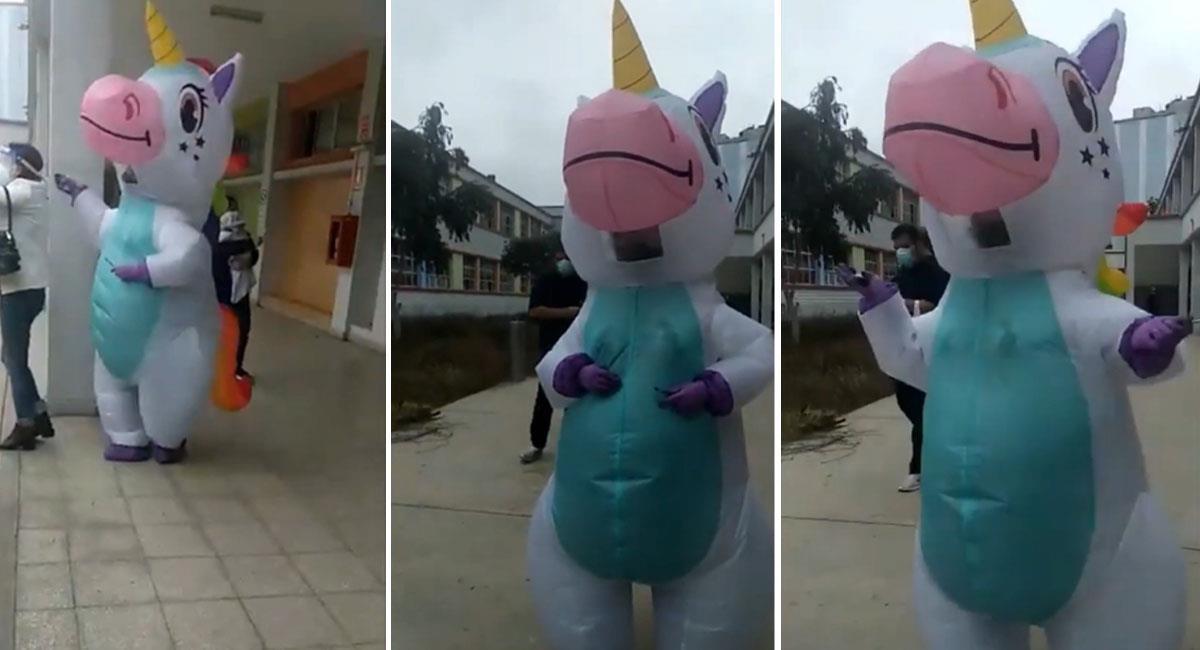 """Peruana acude a votar vestida de unicornio por """"bioseguridad"""". Foto: Youtube"""